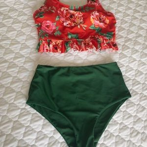 Floral high-waisted swimsuit